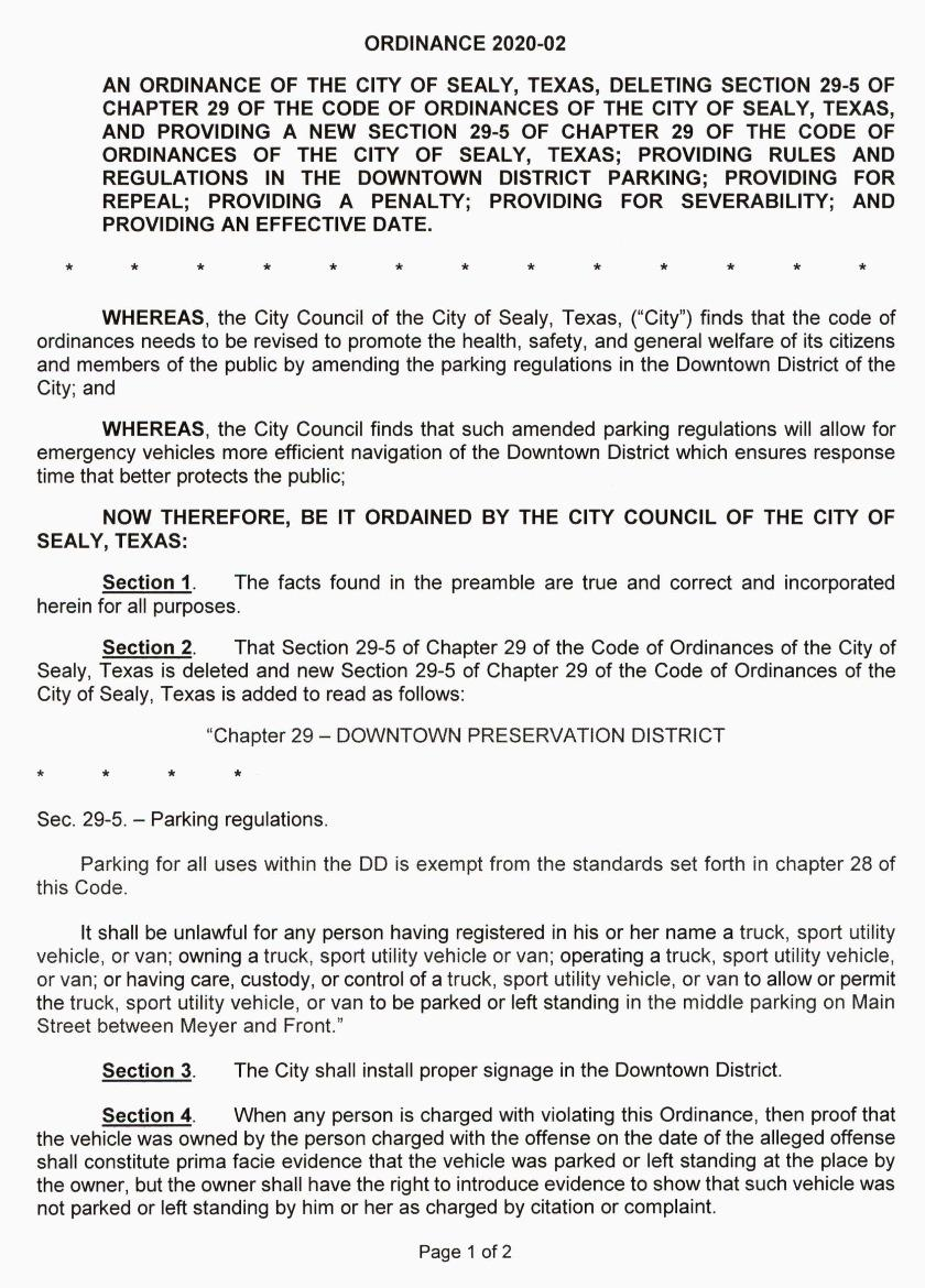 Downtown Parking Ordinance Page 1