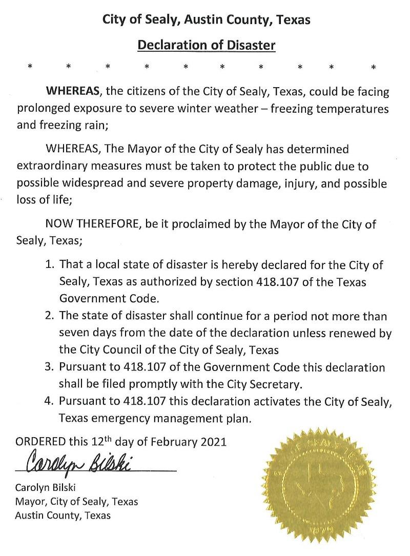 Mayors Disaster Declaration